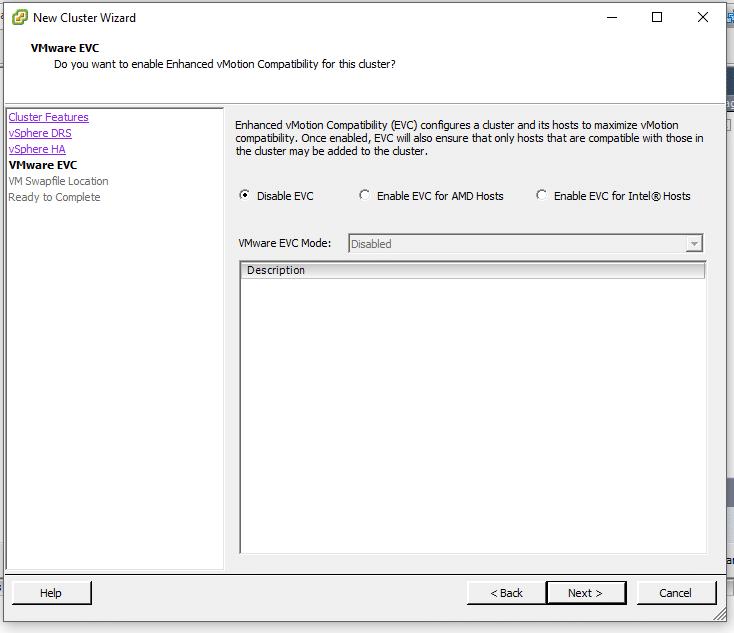 VMware EVC Window