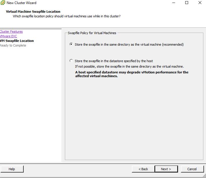 VM Swap File Location Window