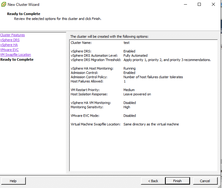 Complete Cluster Setup Window