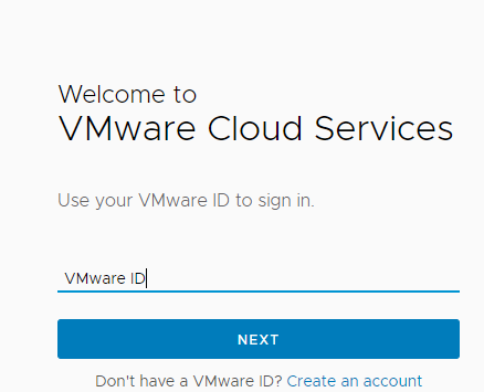VMware Cloud Services Login Page