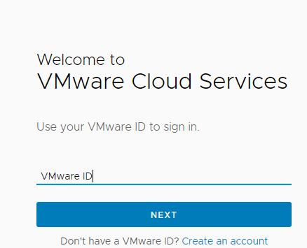 VMware Cloud Services Login Page