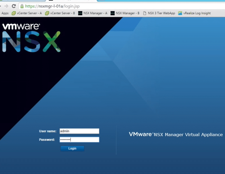 NSX Manager Login Interface