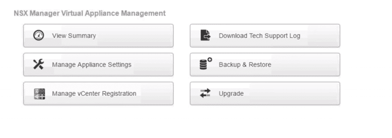 NSX Manager Virtual Appliance Management Window