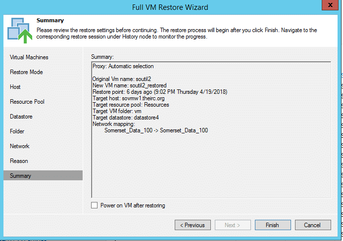 Summary of VM restore