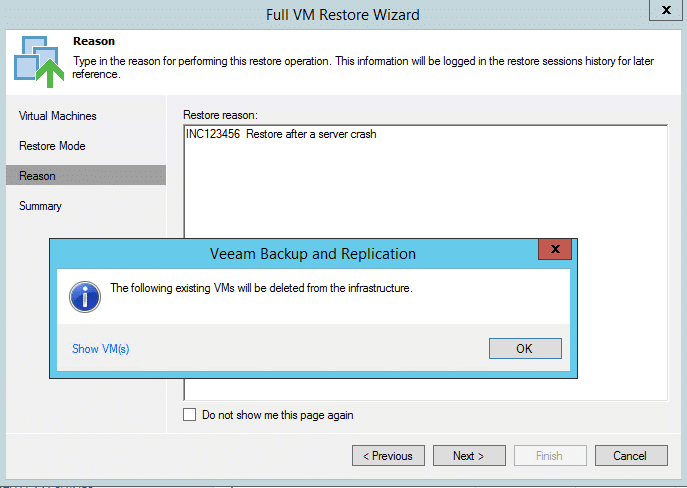 Notification - Deletion of Original VM