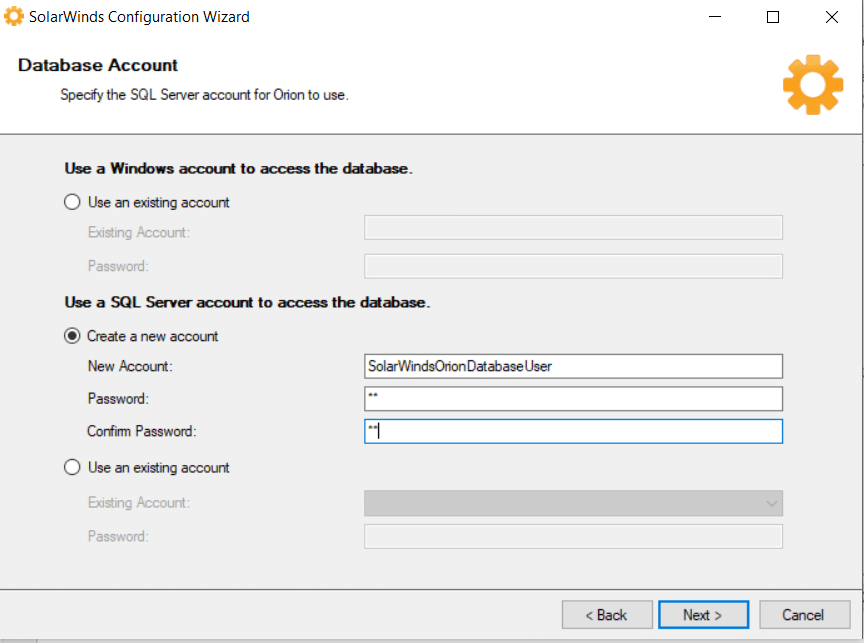 Create SQL Account