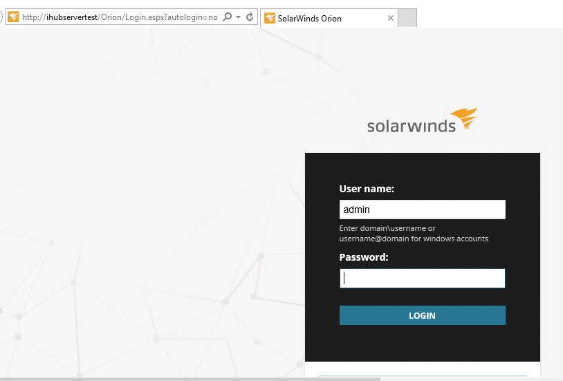 SolarWinds Orion Login page
