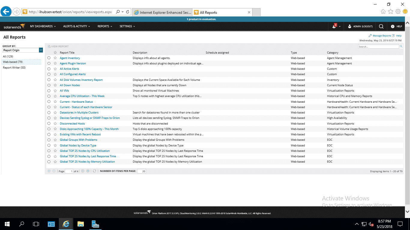 SolarWinds VMAN Reports