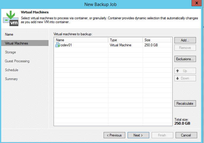 Virtual Machine selected for backup
