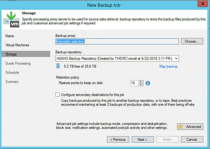 Backup repository details